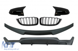 Conversion Package to M Performance Design Central Kidney Grilles With Trunk Spoiler and Mirror Covers suitable for BMW 4 Series Coupe F32 (2013-up) Air Diffuser Matte Black - CORDBMF32MPCSBBDPB