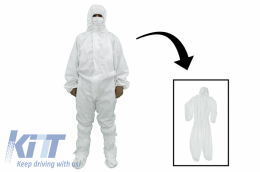 Coverall Overall Dustproof Workwear Jumpsuit Cotton and Polyethylene with Hood Washable size L, Waterproof, Washable - CBNZRALL