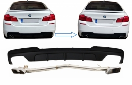 Double Outlet Air Diffuser suitable for BMW 5 Series F10 (2011-2017) M-Performance 550i Design with Exhaust System - CORDBMF10MPDOTHES