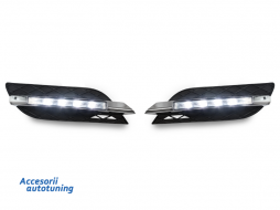 DRL with Grills suitable for Mercedes E CLASS W211 (07-09) Standard Bumper LED Daytime Running Lights - 1615488