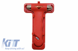 Emergency hammer with belt cutter, color: red - 43960112
