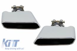 Exhaust Muffler Tips For BMW 5er Sedan Touring F10 F11 F18 550i V8 LCI Square - TY-D047