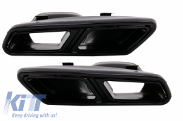 Exhaust Muffler Tips Mercedes Benz S-Class W222 E-Class W212 Facelift CLS W218 SL-Class R231 E63 S65 AMG Design Black Exclusive Editon - TY-S65-W222B