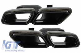 Exhaust Muffler Tips suitable for Mercedes Benz S-Class W222 E-Class W212 S212 Facelift CLS W218 SL-Class R231 E65 S65 SL65 A-Design Black Edition - TY-S63-W222B