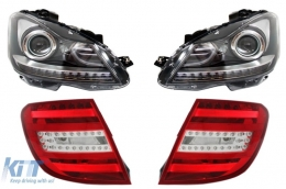 Facelift headlights Mercedes Benz C-Class W204 (2007-2010)+LED Taillights T-Modell Station Wagon Red/Crystal - COHLMBW204FXTL