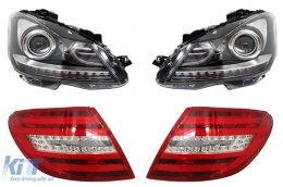 Facelift headlights Mercedes Benz C-Class W204 (2007-2012)+LED Taillights Facelift Design - COHLMBW204FXTLF
