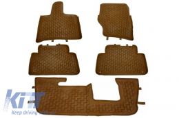 Floor Mats Rubber Mats Audi Q7 4L (2006-2015) 5/7 Seats Sand Brown - 0013222