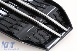Fog Lamp Covers Side Grilles suitable for AUDI A4 Sedan (8W, B9) (2016-) Silver Edition - SGAUA4B9SOE