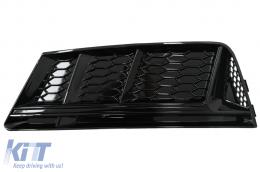 Fog Lamp Covers Side Grilles suitable for AUDI A4 Sedan (8W, B9) (2016-) S4 Design Black Edition - SGAUA4B9NBWH