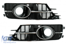 Fog Lamp Covers Side Grilles suitable for AUDI A6 C7 4G Facelift (2015-2018)   Full Black Edition For Standard Bumper - SGAUA64GFN