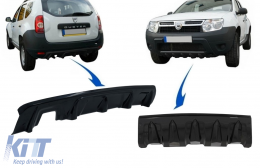 Front and Rear Bumper Skid Plate Protection suitable for DACIA Duster 4x4 / 4x2 (2010-2017) Piano Black - COSPRBDDPB