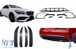 Front and Rear Bumper Splitters Fins Side Vent Flaps Aero Conversion Kit suitable for Mercedes CLA W117 Facelift (2016-2018) CLA45 Design Canards Piano Black - COFBSPMBW117FAMG2