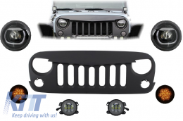 Front Assembly Grille and LED Lights suitable for JEEP Wrangler / Rubicon JK (2007-2017) Angry Bird Design - COFGJEWJKMB