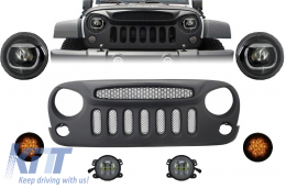 Front Assembly Grille and LED Lights suitable for JEEP Wrangler / Rubicon JK (2007-2017) Angry Bird Design Specter Mask - COFGJEWJKSP