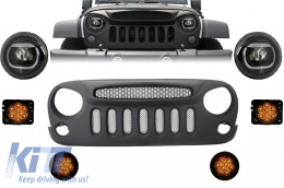 Front Assembly Grille and LED Lights suitable for JEEP Wrangler / Rubicon JK (2007-2017) Angry Bird Design Specter Mask - COFGJEWJKSPL