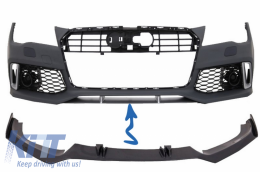 Front Bumper Add-On Spoiler Lip suitable for AUDI A7 RS7 4G (2010-2018) Real Carbon - FBSAUA74GFRSC