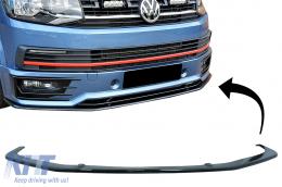Front Bumper Add-on Spoiler Lip suitable for SPORTLINE FRONT BUMPER VW Transporter T6 (2015-up) Glossy Black