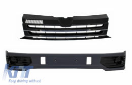 Front Bumper Add-on Spoiler suitable for VW Transporter Multivan Caravelle T5 T5.1 Facelift (2010-2015) with Badgeless Front Debadged Grille Sportline Design - COFBSVWT5OEFG