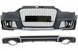 Front Bumper and Rear Bumper Valance Diffuser with Exhaust Tips suitable for AUDI A3 8V (2012-2015) Hatchback Sportback RS3 Design