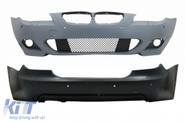Front Bumper and Rear Bumper with PDC 18mm BMW 5 Series E60 07-10 LCI M-Technik Design - COCBBME60MTP18WF