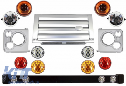 Front Bumper Assembly Central Grille & Covers Assembly Land Rover Defender 90 110 (1990-2016) Silver SVX Design with Upgrade LED Lights Package - COFBLRDF01SLP