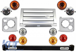 Front Bumper Assembly Central Grille & Covers Assembly Land Rover Defender 90 110 (1990-2016) Silver SVX Design with Upgrade LED Lights Package - COFBLRDF02SLP