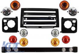 Front Bumper Assembly Central Grille & Covers Assembly Land Rover Defender 90 110 (1990-2016) Black SVX Design with Upgrade LED Lights Package - COFBLRDF01BLP