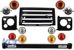 Front Bumper Assembly Central Grille & Covers Assembly Land Rover Defender 90 110 (1990-2016) Black SVX Design with Upgrade LED Lights Package - COFBLRDF02BLP