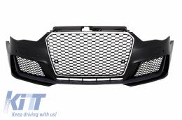 Front Bumper Audi A3 8V (2012-2015) 5D Hatchback Sportback RS3 Look Chrome Black - FBAUA38VRSTH