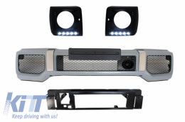 Front Bumper Black Headlights Covers LED DRL suitable for MERCEDES G-Class W463 (1989-up) G65 Design