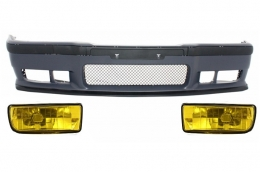 Front Bumper BMW 3er E36 (1992-1998) M3 Design With Yellow Fog Lights  - COFBBME36M3FY