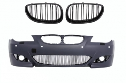Front Bumper BMW 5 Series E60 (2003-2007) M5 Design with Central Grilles Double Stripe Piano Black