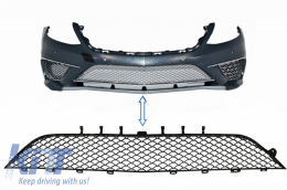 Front Bumper Central Lower Grille suitable for MERCEDES Benz S-Class W222 AMG S63 Design Piano Black - FBGMBW222S65PB