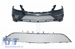 Front Bumper Chrome Central Lower Grille suitable for MERCEDES Benz S-class W222 AMG S65 Design - FBGMBW222S65