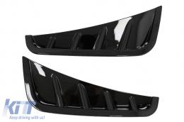 Front Bumper Flaps Side Fins Flics suitable for Mercedes C-Class W205 S205 Sedan T-Model Facelift (2018-2020) Piano Black - FFOBW205F