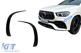 Front Bumper Flaps Side Fins Flics suitable for Mercedes GLE W167 GLE Coupe C167 (2019-up) only for AMG Sport line bumper GLE53 Design Piano Black - FFOBGLEW167