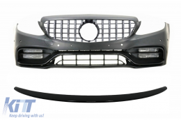 Front Bumper & Grille Chrome with Trunk Boot Spoiler Piano Black suitable for Mercedes C-Class C205 (2014-2018) C63 Design