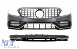 Front Bumper & Grille with Diffuser and Tips suitable for Mercedes C-Class W205 S205 AMG Sport Line (2014-2020) C63S Design - COCBMBW205C63SFBCCN
