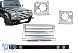 Front Bumper Land Rover Defender (1990-2016) with Central Grille & Headlights Covers Assembly Silver SVX Design