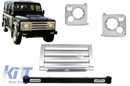 Front Bumper Land Rover Defender (1990-2016) with Central Grille & Headlights Covers Assembly Silver SVX Design - COFBLRDF02FG