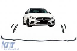 Front Bumper Lip Extension suitable for Mercedes A-Class W177 V177 (04.2018-up) A35 Design Black Edition - FBLMBW177AMG