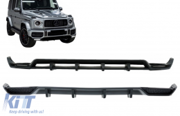 Front Bumper Lip Spoiler LED DRL Extension with Rear Bumper Diffuser suitable for Mercedes G-Class Facelift W463 / W464 (2018-) - COFBSMBW464BRD