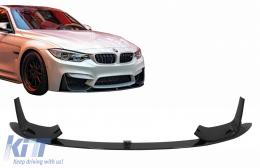 Front Bumper Lip Spoiler suitable for BMW F80 M3 Sedan F82 M4 Coupe F83 M4 Cabrio (2014-2019) Piano Black - FBSBMF80MPB