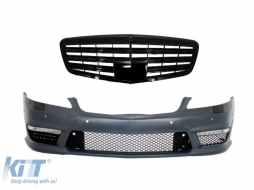 Front Bumper Mercedes Benz W221 S-Class (2005-2012) S63 S65 AMG Look withc Front Grill Facelift Piano Black Design