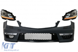 Front Bumper Mercedes C-Class W204 (2012-up) C63 Facelift AMG Design with DECTANE headlights DRL black Assembly