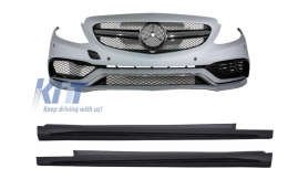 Front Bumper Mercedes C-Class W205 S205 (2014-up) Limo T-model Coupe C63 AMG Design with Side Skirts Sport  - COFBMBW205AMGSS