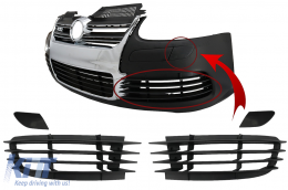 Front Bumper Parts Side grills & Headlights Washer Covers Suitable for VW Golf V 5 (2003-2007) Jetta (2005-2010) R32 Look - FBPVWG5R32A