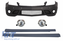 Front Bumper PDC with Fog Lights and Side Skirts suitable for Mercedes C-Class W204 (2007-2012) C63 Design - COFBMBW204AMGFFL