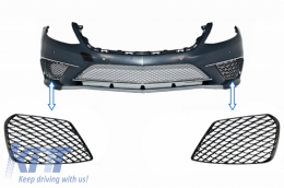 Front Bumper Side Grilles suitable for MERCEDES Benz S-Class W222 AMG S63 Design Piano Black - SGMBW222S65PB