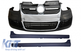 Front Bumper Side Skirts Volkswagen VW Golf V 5 (2003-2007) R32 Look Chrome Grill - COFBVWG5R32GTI